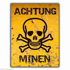 METAL SIGN WALL PLAQUE ACHTUNG MINEN MINES Humorous Funny poster print hanging