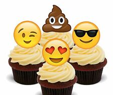 Emoji / Smiley Faces - Edible Cupcake Toppers, Fairy Cake Bun Decorations Poo