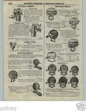 1922 PAPER AD Bicyle Bells Search Light Gas Headlight 20th Century Delta Solar