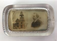 Antique Photograph Glass Paperweight Unknown Church Preacher Man Sepia Tone