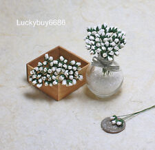 50 White Tiny Rose Scrapbook Crafts 5mm Mulberry Paper Flower Card Wedding Mini