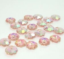 30pcs Peach AB crystal glass Plum flower Silver Bottom Loose beads 10mm