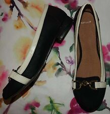 Topshop Black Faux Leather Round Toe Low Block Heel Loafer Shoes - Size 5