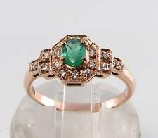 CLASS 9CT 9K ROSE GOLD COLOMBIAN EMERALD & DIAMOND ART DECO INS RING FREE SIZE