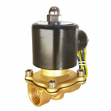 "HFS 110V AC 3/4"" Electric Solenoid Valve Water Air Gas, Fuels N/C - Brass"