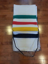 NEW HUDSON'S BAY WOOL BLANKET 6 POINT MULTI STRIPE QUEEN SIZE 90 x 100
