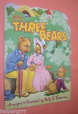 THE THREE BEARS. c1940s SHAPED CHILDRENS BOOK. MOLLY THOMSON. KIDDIE KUTS SERIES