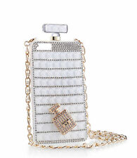 Crystal Diamond Perfume Bottle With Chain Phone Covers Cases For iPhone Samsung