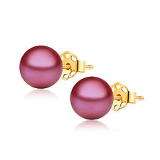 Freshwater Cranberry Red Pearl Studs Earrings ~ 7-7.5mm AAA 14K Yellow Gold