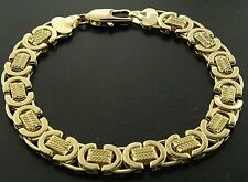 Luxury Byzantine Bracelet - 24 k Gold filled - Men's - 10mm, Solid Bling