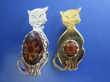 Gold and Silver Tone Brown Catseye Belly Two Kitty Cat Brooch Pins