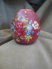 "Dutch Vintage Hindeloopen  Folk Art Wooden Hand Painted Candle Holder 3"" tall"