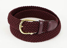 New BRIONI Burgundy Red Fabric W/ Leather Gold Buckle Belt 40 US 100 EU $425