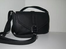 Tommy Hilfiger Black Saffiano Leather Silvertone Hardware Crossbody Shoulder Bag