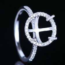 Elegant 14K White Gold Real Dimonds Engagement Semi Mount Halo Ring Round 9.5mm