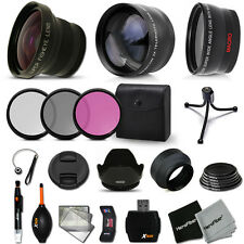 58mm FishEye + Wide Angle + 2x Telephoto Lens KIT f/ DSLR & Digital Cameras