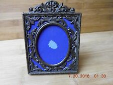 ANTIQUE BRASS PHOTO FRAME WITH  Blue felt background. Made in Italy with stand
