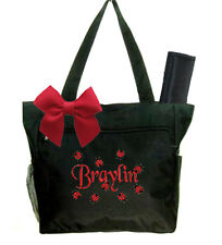 Personalized Black with Ladybugs Diaper Bag & Changing Pad Free Shipping