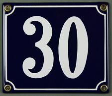 """Blaue Emaille Hausnummer """"30"""" 14x12 cm Hausnummernschild sofort lieferbar Schild"""
