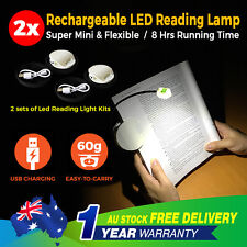 2x Portable Travel LED Clip On Reading Book Light Lamp USB Adjustable Stand Kobo