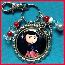 Personalized CORALINE Bottle Cap Name Necklace, Jewelry, Zipper Pull Pendant