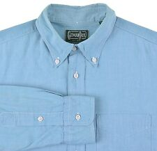 Gitman Bros Vintage Made in USA Blue Teal Cotton Button Down Collar Shirt L