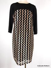 Chicos Sz 3 XL Metallic Vertical Zig Zag Black Shift Dress