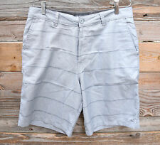 ONEILL Mens Flynn Grey Stripe Walking Shorts Golf Beach Quick Dry 32 NEW