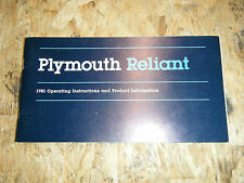 1981 PLYMOUTH RELIANT FACTORY OWNERS MANUAL OPERATORS GLOVE BOX BOOK