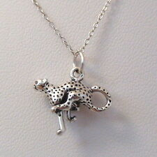 Cheetah Necklace - 925 Sterling Silver - Cheetah Charm Cat Africa Feline *NEW*