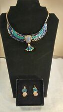 FRANKLIN MINT JEWEL OF THE NILE SCARAB NECKLACE & EARRINGS