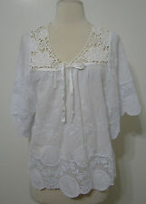 Neslay Paris Top White Embroidered Crochet Cut-Out Butterfly Sleeve Tunic NWOT M
