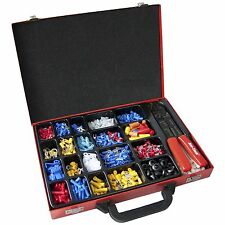 1000PC WIRING TOOL KIT, TERMINAL CONNECTORS CRIMPING PLIERS H/ DUTY STEEL CASE.