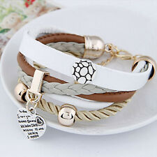Fashion Bangle Gift Multilayer Leather Letter Peach Heart Cuff Bracelet Jewelry