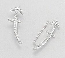 """0.91""""Solid Sterling Silver SPARKLING Beauty Arrow Ear Cuff CRAWLER Hook Earrings"""