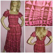 VINTAGE 70s PINK/BROWN GEOMETRIC PRINT BOHO HIPPY MAXI DRESS XS S 1970s