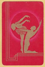 1 SINGLE VINTAGE SWAP PLAYING CARD DECO BALLET DANCER COUPLE SILHOUETTE GOLD RED