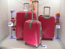 "NWT ROSE RED ABS HARDCASE SPINNER SUITCASE LUGGAGE UPRIGHT 20""24""28"" 3PCS/SET"