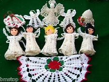VINTAGE MIXED LOT 11 CROCHET CHRISTMAS STARCHED ANGELS ~ BELL ~  DOILY