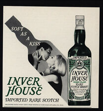 1965 INVER HOUSE Rare Scotch Whisky - Soft As A Kiss - Couple Kissing VINTAGE AD