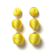 3-TIERS OF YELLOW SILKY SHEEN DISCO BALL DROP STATEMENT EARRINGS