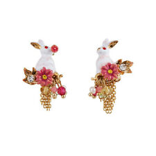 Les Nereides Fantasy Garden Rabbit On Flowers & Cascade of Chains Stud Earrings