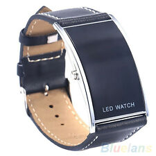Men Women Dedicated Trendy Arch Bridge LED Digital Date Faux Leather Wrist Watch