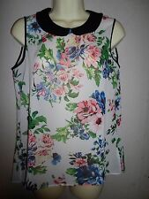 DOROTHY PERKINS CREAM FLORAL SLEEVELESS TOP WITH BLACK PETER PAN COLLAR SIZE 12