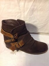 Timeless Brown Ankle Suede Boots Size 38
