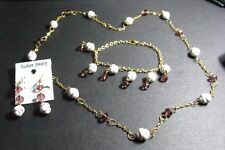 White/Purple Swivel Bead/Swarovski Crystal Necklace,Bracelet And Earrings