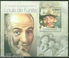 SAO TOME 2013  30th MEMORIAL ANNIVERSARY OF  LOUIS de FUNES  SOUVENIR SHEET NH