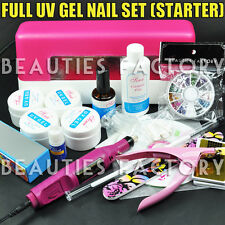 Acrylic Nail Art UV Gel Kits Tools Pink UV lamp Tips Glue Nail Drill Set #156