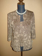 Alex Evenings Mocha Brown Glitter Jacket Cami Tank Top 2-piece Set Size PS NWT
