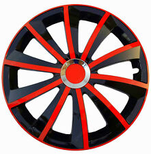 "4x15"" Wheel trims fit VW VOLKSWAGEN CADDY TRANSPORTER  full set -15'' black/red"